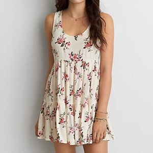American Eagle Tiered Babydoll White Dress (S)